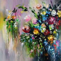Bouquet of wild flowers, Paintings, Impressionism, Botanical,Floral,Still Life, Oil, By Liubov Kuptsova