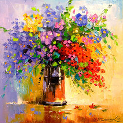 Bouquet of wildflowers, Paintings, Impressionism, Botanical,Floral, Canvas,Oil,Painting, By Olha   Darchuk