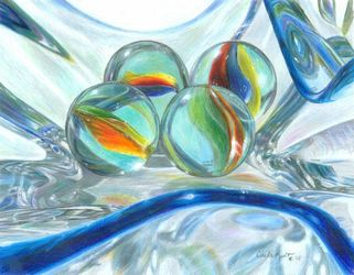 Bowl of Marbles, Drawings / Sketch,Paintings, Photorealism,Realism, Composition,Decorative,Still Life, Painting,Pencil, By Carla Kurt