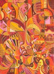 Bravo. Original painting from<br>Cameroon, Africa, Paintings, Abstract,Cubism, People, Oil, By Angu Walters Che