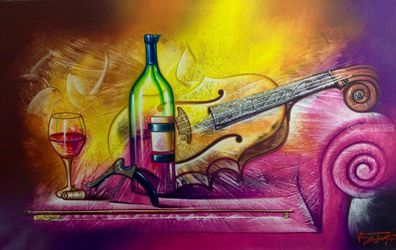 Break, Decorative Arts, Fine Art, Music, Canvas, By Van Robert Familia