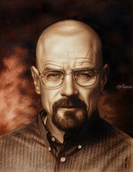 Breaking Bad (Heisenberg<br>(Walter White)) speed drawing<br>Portrait, Drawings / Sketch,Paintings, Expressionism,Fine Art,Photorealism,Realism, People,Portrait, Canvas,Charcoal,Mixed,Oil, By Stefan Pabst