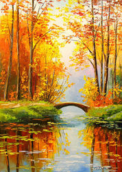 Bridge in the autumn forest, Paintings, Impressionism, Botanical,Landscape,Nature, Canvas,Oil,Painting, By Olha   Darchuk