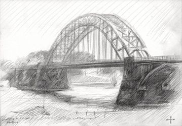 Bridge over the river Waal at<br>Nijmegen - 21-04-14, Drawings / Sketch, Fine Art,Impressionism,Realism, Cityscape,Composition,Figurative,Inspirational,Landscape,Nature, Pencil, By Corne Akkers