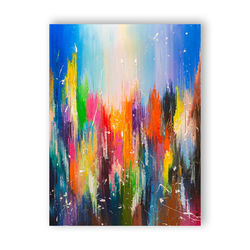 BRIGHT CITY, Paintings, Abstract, Cityscape, Canvas,Oil, By Liubov Kuptsova