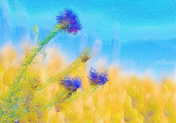 bright, colorful summer<br>flowers at noon in a sunlit<br>meadow, Digital Art / Computer Art, Abstract,Expressionism, Decorative, Digital, By Dmitry Posudin