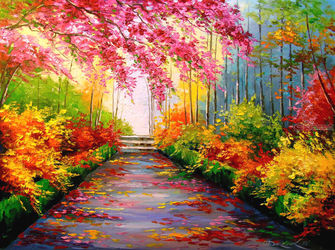 Bright colors autumn, Paintings, Fine Art,Impressionism, Botanical,Floral,Landscape,Nature, Canvas,Oil,Painting, By Olha   Darchuk