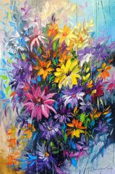 Bright dance of flowers, Paintings, Abstract,Expressionism,Impressionism, Analytical art,Botanical,Floral, Canvas,Oil,Painting, By Olha   Darchuk