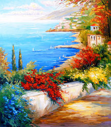 Bright day by the sea, Paintings, Impressionism, Botanical,Floral,Landscape,Nature, Canvas,Oil,Painting, By Olha   Darchuk