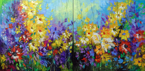 Bright melody 140 x 70cm, Paintings, Abstract,Expressionism,Fine Art,Impressionism, Analytical art,Fantasy,Floral,Music, Canvas,Oil,Painting, By Olha   Darchuk