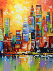 Bright new York city, Paintings, Expressionism,Impressionism, Architecture,Cityscape,Landscape, Canvas,Oil,Painting, By Olha   Darchuk