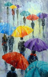 Bright rain outside, Paintings, Expressionism,Impressionism, Cityscape,Fantasy,Landscape,Nature,People, Canvas,Oil,Painting, By Olha   Darchuk