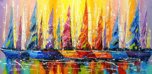 Bright sails, Paintings, Abstract,Impressionism, Fantasy,Seascape, Canvas,Oil,Painting, By Olha   Darchuk