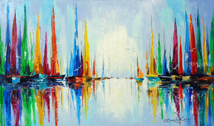 Bright sails at the pier, Paintings, Abstract,Expressionism,Fine Art,Impressionism, Analytical art,Landscape,Seascape, Canvas,Oil,Painting, By Olha   Darchuk