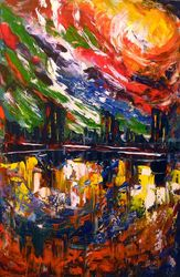 Bright storm over the city, Paintings, Abstract,Expressionism,Fine Art, Analytical art,Architecture,Cityscape,Fantasy, Acrylic,Canvas,Painting, By Olha   Darchuk