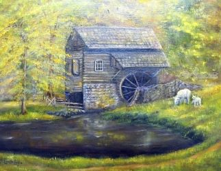 Bromely Mill at Cuttalossa<br>Farm, Paintings, Fine Art,Impressionism, Landscape, Canvas, By Loretta Luglio
