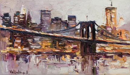 Brooklyn Bridge - New York<br>City - Original oil painting, Paintings, Impressionism, Portrait, Canvas, By Anastasiya Valiulina