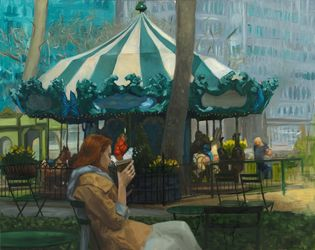 Bryant Park, Paintings, Impressionism, Cityscape, Oil, By Michael Connors