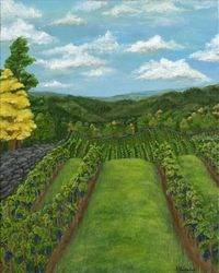 Between the Vines, Paintings, Fine Art, Landscape,Nature, Acrylic,Canvas, By Kelsey VandenHoek