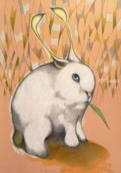 Bunny alien, Illustration,Paintings, Expressionism,Surrealism, Animals, Oil,Pencil, By federico cortese