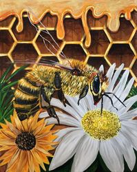 Busy Bee, Paintings, Fine Art, Animals, Acrylic, By adam santana