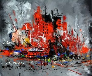 Busy city, Architecture,Decorative Arts,Drawings / Sketch,Paintings, Expressionism, Landscape, Canvas, By Pol Ledent