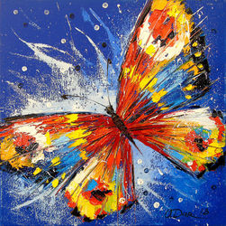 Butterfly, Paintings, Impressionism, Animals,Dance,Floral,Nature, Canvas,Oil,Painting, By Olha   Darchuk