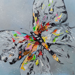 Butterfly on grey, Paintings, Impressionism, Animals,Figurative, Oil, By Liubov Kuptsova