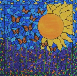 Butterfly sunshine, Mosaic,Paintings,Stained Glass, Abstract,Expressionism,Fine Art, Botanical,Floral, Canvas, By Rachel Olynuk