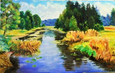 BY THE LAKE, Paintings, Fine Art, Landscape, Canvas,Oil,Painting, By Zenon Rozycki