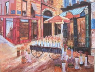 "Cafe ""Mimoza"", Paris, Paintings, Impressionism, Cityscape,Daily Life, Oil, By slobodan paunovic"