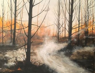 """A forest crying...California"", Paintings, Impressionism, Landscape, Watercolor, By Stephen Keller"
