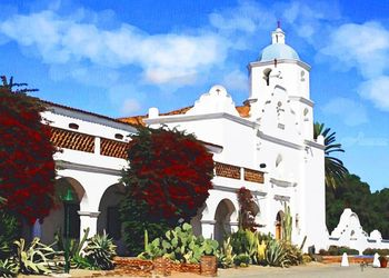 California Mission San Luis<br>Rey, Paintings, Fine Art, Window on the World, Watercolor, By Angelo