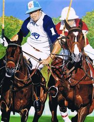 Cambiaso Gets Position, Paintings, Fine Art,Realism, Animals,Figurative,Portrait, Canvas, By Rick Seguso