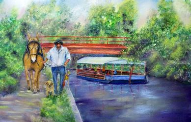 Canal Ride, Paintings,Pastel, Expressionism,Fine Art,Impressionism,Realism, Animals,Daily Life,Historical,Landscape, Mixed,Painting, By Loretta Luglio
