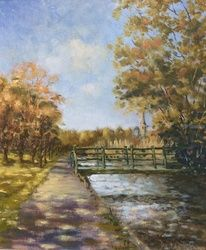 Canal walk, Paintings, Impressionism, Landscape, Oil, By David Mather