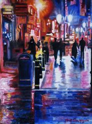 Cardiff Rain, Paintings, Impressionism, Cityscape,People, Canvas,Oil,Painting, By Mark Maguire