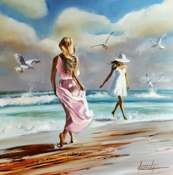 Carefree friends, Paintings, Impressionism, Figurative,Seascape, Oil, By Keni Kennedy