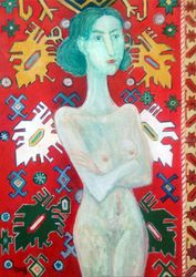 Carpet and girl2018year oil on<br>canvas 70X50cm3000$, Paintings, Modernism, Erotic, Canvas, By ZAKIR AHMEDOV