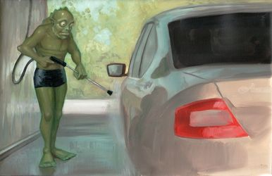 Carwash, Paintings, Impressionism, Portrait, Oil, By Michael Connors