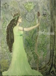 Celtic Forest Queen, Paintings, Realism, Fantasy, Watercolor, By Jocelyn Rodgers