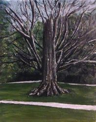 Cemetery Tree, Paintings, Impressionism, Landscape,Nature, Acrylic, By Nick Mitchell