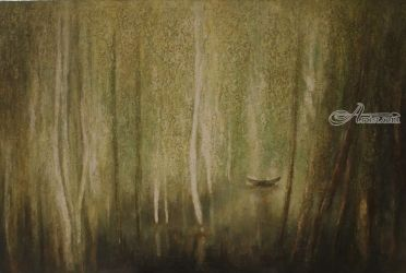 Cham Forest 2, Paintings, Fine Art, Landscape, Canvas,Oil, By Ninh NguyenVu