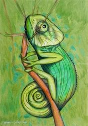 Chameleon, Paintings, Impressionism,Surrealism, Animals,Botanical, Oil, By federico cortese