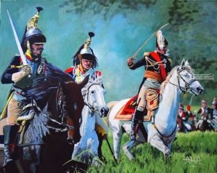 Charging French Dragoons, Paintings, Realism, Historical, Acrylic, By Adrian Arvin