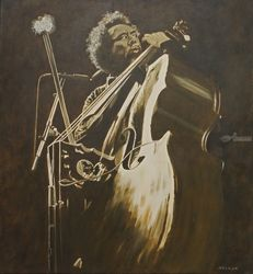 Charles Mingus, Paintings, Fine Art,Realism, Avant-Garde,Figurative,Music,Portrait, Oil,Wood, By Rick Seguso