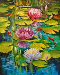 Charming pond, Paintings, Expressionism,Fine Art,Impressionism, Landscape,Nature, Canvas,Oil,Painting, By Olha   Darchuk