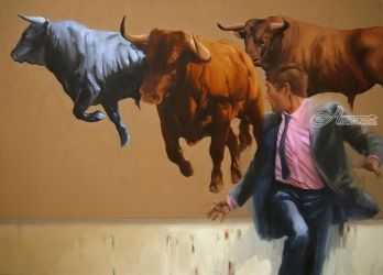 Chasing the Market, Decorative Arts,Digital Art / Computer Art,Folk Art,Graffiti,Graphic,Illustration,Paintings,Paper Art,Photography, Realism, Animals, Canvas,Oil, By Zil Hoque