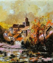 Chassepierre 6741, Architecture,Decorative Arts,Drawings / Sketch,Paintings, Expressionism, Landscape, Canvas, By Pol Ledent