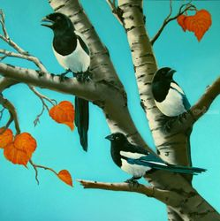 CHATTERING MAGPIES, Paintings, Realism, Animals, Oil, By Donna Francis